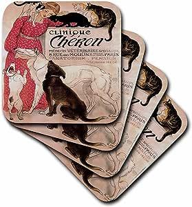 3dRose cst_149169_3 Vintage Art Nouveau Clinique Cheron Paris France Poster Ceramic Tile Coasters, Set of 4