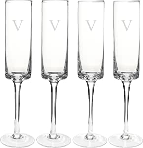 Cathy's Concepts Personalized Contemporary Champagne Flutes, Initial V