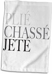 3D Rose Ballet Plié Chassé Jeté 灰色手巾,38.10 cm x 55.88 cm