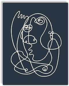 VintBo,抽象图画线条画,极简现代艺术印刷海报,家居和卧室装饰的当代墙壁艺术,27.94x35.56cm,无框 * 11Wx14L