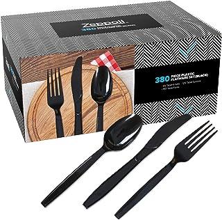 Zeppoli 380 件套透明塑料银色套装 - 190 个塑料叉子,125 个塑料勺,65 个塑料刀 - 塑料餐具餐具套装 - 一次性叉子,透明塑料勺 - 中国用具 黑色