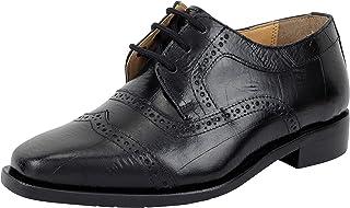 LIBERTYZENO 男孩系带徒步礼服鞋 EEL 皮肤印花儿童真皮滑翔鞋(幼儿/小童/大童) Black Eel 5 Toddler