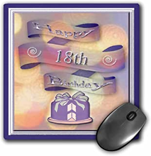 3dRose LLC 20.32 X 20.32 X 0.64 cm 丝带和蛋糕快乐 18 岁生日鼠标垫 (mp_24397_1)