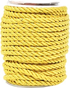 Mandala Crafts 5mm 3/16 英寸人造丝家居装饰管道编织绳缠绕绳 金色 5mm Twist Cord