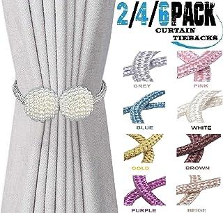 HoHnH 珍珠磁性窗帘系带夹装饰绳索固定,窗帘系带编织支架,窗帘固定窗帘,窗帘系带背部 16 英寸(约 40.6 厘米)固定 灰色。 16