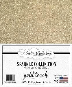 MirriSparkle 闪光卡片纸 来自 Cardstock 仓库 21.59cm x 27.94cm - 16 PT/280gsm - 10 张 金色 CWMS-GOLD16-8511-10PK