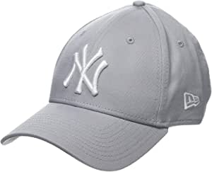 New Era 男子MLB 基础款纽约洋基队9Forty可调式棒球帽,Grey,均码