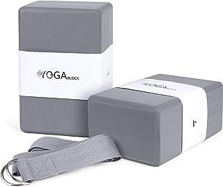 JBM 瑜伽块 Plus 绑带,带金属 D 形环瑜伽砖软木瑜伽砖 6 种颜色 - 高* EVA 泡沫瑜伽块支撑和深化姿势,轻质、防臭