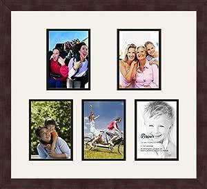 Art to Frames 双多衬垫-321-61/89-FRBW26061 拼贴框架照片垫双衬垫带 5-12.7 x 17.78 cm 开口和咖啡色相框