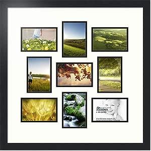 ArtToFrames 拼贴照片框双垫,带 9 个开口和黑色缎框。 瓷器色 9-4x6 Double-Multimat-540-754/89-FRBW26079