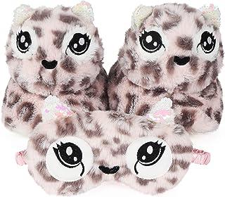 儿童可爱猎豹动物 3D 拖鞋,附赠配套眼罩
