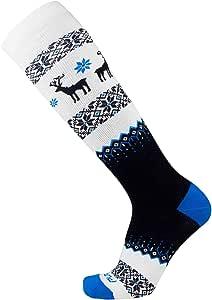 Pure Athlete 保暖滑雪袜 - 毛衣鹿袜适用于滑雪 - 美利奴羊毛冬季,滑雪板