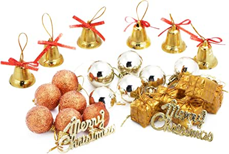 Hfuear 24 克拉圣诞装饰品球圣诞树吊坠装饰性圣诞节浴缸球装饰品套装 适用于假日婚礼派对 金色