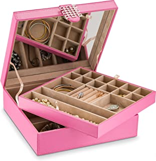 Jewelry Box - 28 Section Classic Jewelry Organizer with Modern Buckle Closure, Large Mirror & 2 Trays for Women Teens and Girls - Holder for Earring Ring Necklace Bracelet & Watch - PU Leather - Pink