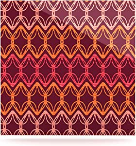 Kess InHouse Suzie Tremel Rick Rack 豪华方形板,20.32 x 20.32 厘米,红色/橙色