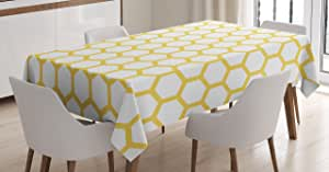 Yellow and White Tablecloth by Ambesonne, Hexagonal Pattern Honeycomb Beehive Simplistic Geometrical Monochrome, Dining Room Kitchen Rectangular Table Cover, 52 W X 70 L Inches, Yellow White