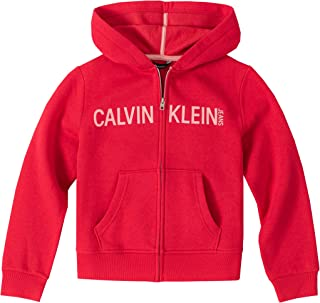 CALVIN KLEIN 女孩 徽标前拉链连帽运动衫