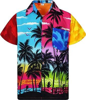时尚夏威夷衬衫男式短袖 front-pocket every 衬衫 IS 独特多色