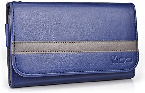 Kroo Men's Wallet Case Holster for Smartphone up to 5.1 Inch - Frustration-Free Packaging - Dark Blue with Grey