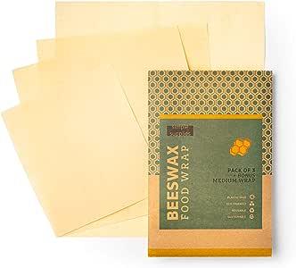 Beeswax Wrap 4 件装:*、无染料、无墨水,环保可重复使用的食品包装替代品 天然棉 1 Small, 2 Medium, 1 Large