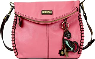 Chala Charming 斜挎包带翻盖顶部带拉链斜挎包或带金属链的单肩包 - 粉色