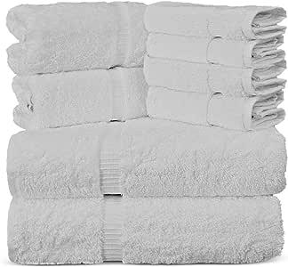 Luxury Spa and Hotel Quality Premium Turkish 8 Pieces Towel Set (2 x Bath Towels, 2 x Hand Towels, 4 x Wash Cloths, White)