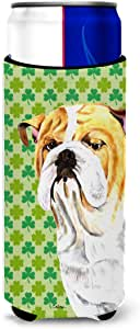 Bulldog English St. Patrick's Day Shamrock Portrait Michelob Ultra Koozies for slim cans SC9294MUK 多色 Slim