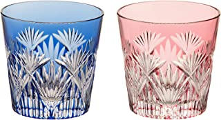 [Kagami Crystal] 成对冷水杯 红蓝色 120毫升 江户切子玻璃 竹叶斜十字纹 #2406