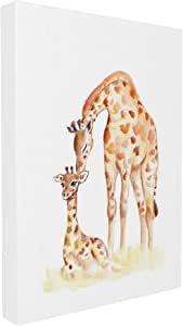 The Stupell 家居装饰系列长颈鹿家庭插画带框艺术微喷纹理艺术微喷 16 x 20 brp-1991_cn_16x20