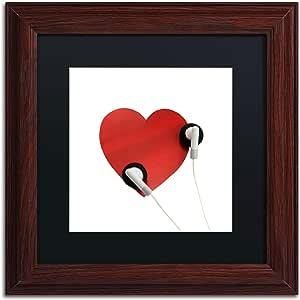 Trademark Fine Art Listen to Your Heart Wood Framed Artwork by Beata Czyzowska Young, 11 by 11-Inch, Black Matte