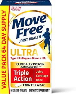 Schiff II型胶原蛋白,硼和HA 三合一维生素片  Move Free(1瓶64粒)一天1小片