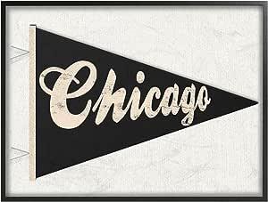 Stupell 家居装饰系列 Chicago Pennant 黑色拉伸帆布壁画,多色 多色 11 x 14 cw-1388_fr_11x14