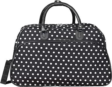 World Traveler 女式手提单肩手提包行李包,黑白圆点,53.34 厘米