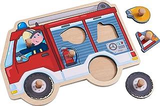 HABA 304594 – 消防车抓玩具 6 件式木制拼图,带消防车和大手柄木纽扣,木制玩具 12 个月以上