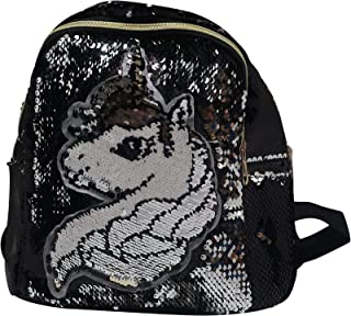 独角兽翻盖亮片背包适合女孩旅行露营时尚休闲背包