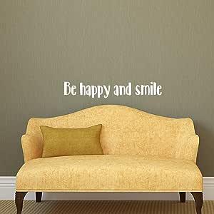 """乙烯基墙壁艺术贴花 - Be Happy and Smile - 12.7 cm x 76.20 cm - 励志引言模板胶 - 防水室内室外卧室客厅工作场所使用 White Text 5"""" x 30"""" HAPPYSMILE"""