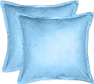 downluxe 2 件 DL17DPSU02 纯色仿麂皮装饰抱枕带拉链,羽毛枕 超柔软,50.8 cm 长 x 50.8 cm 宽 冷蓝色 DL17DPSU06