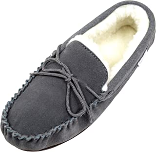 SNUGRUGS Men's Lambswool Suede with Rubber Sole Low-Top Slippers