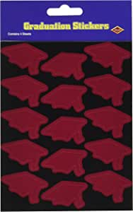 Beistle 4-Pack Graduate Cap Stickers, 4-3/4-Inch by 7-1/2-Inch, Maroon