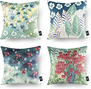 幻影镜 4 件套装饰热带系列彩色小花朵抱枕套靠垫套 18 x 18 英寸 45 x 45 厘米