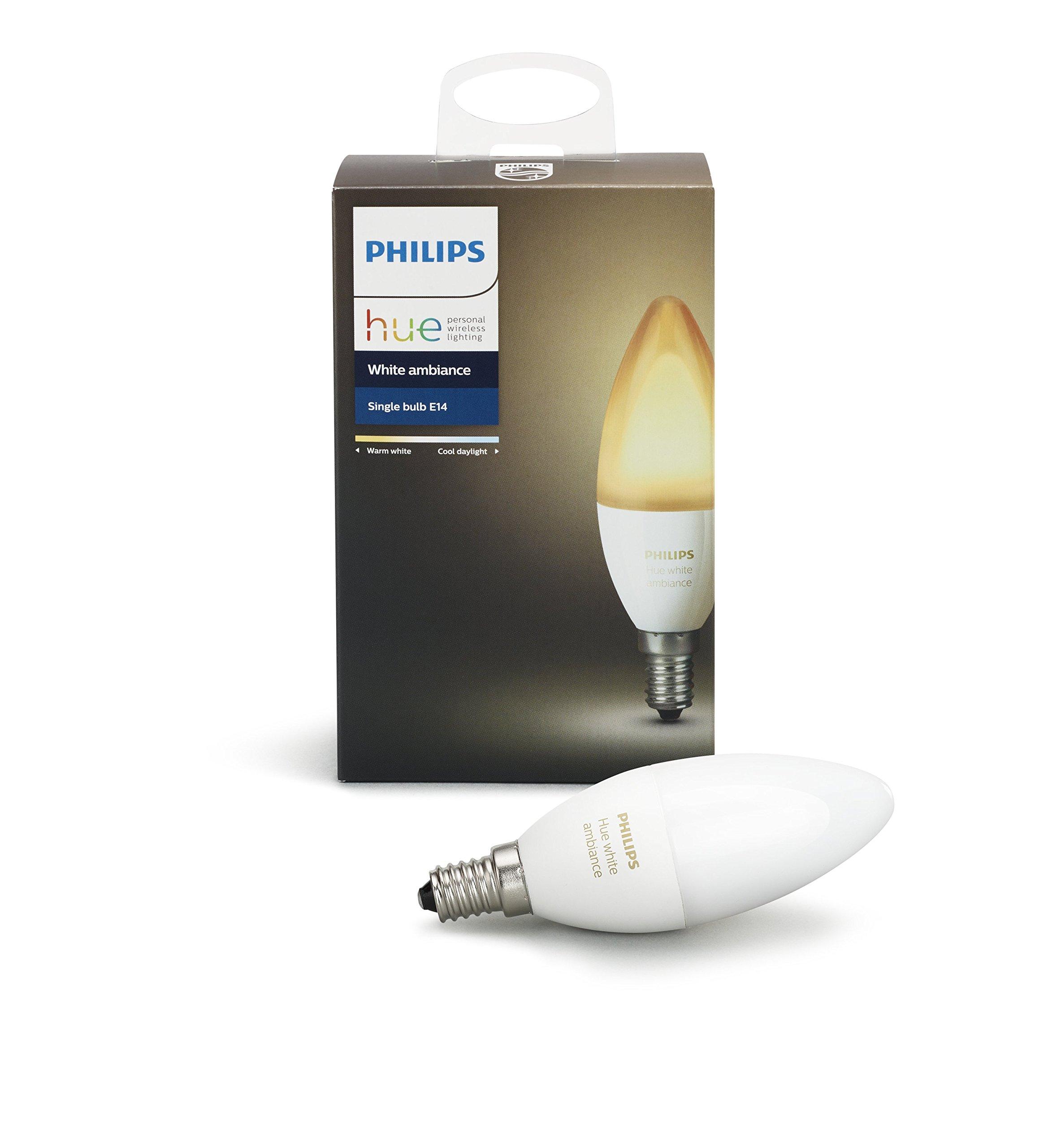 フィリップスヒュー・ホワイトの雰囲気E12装飾キャンドル40ワットなど(アマゾンアレクサアップルHomeKitとGoogleのアシスタントとの互換性)効率調光可能なLED電球・インテリジェンス