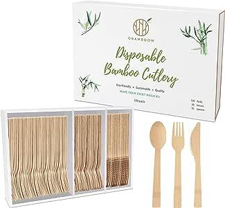 OBAMBOOM 环保一次性竹制餐具。 *、可生物降解、可堆肥餐具/餐具/银器/餐具套装 OBAMBOOM01
