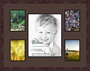 Art to Frames 双多衬垫-683-776/89-FRBW26061 拼贴框架照片垫双衬垫带 4-12.7 x 17.78 和 1-27.94 x 35.56 厘米开口和咖啡色相框