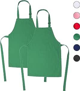 ONEOMI 儿童围裙,小号,* 纯棉,带有可调节肩带,适合所有年龄段,非常适合烹饪、烘焙、绘画、装饰、派对、厨师、艺术和教室儿童围裙 * 小号 AM1