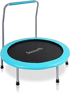 SereneLife 便携式可折叠蹦床 - 36 英寸直径弹簧回弹者跳垫适合儿童*,带衬垫的框架盖和车把和手提包 - SLELT367