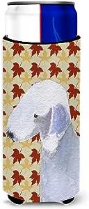 Caroline's Treasures SS4373-Parent Bedlington Terrier 秋叶肖像超饮隔热器适用于纤薄罐 SS4373MUK,多色 多种颜色 Slim SS4373MUK