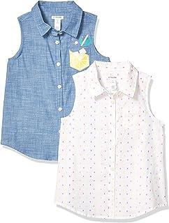 斑点斑马女孩运动衬衫 2 件装无袖针织上衣