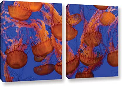 """ArtWall Scott Campbell's Pacific Sea Nettle Cluster 2 Piece Gallery Wrapped Canvas Set, 18"""" x 28"""""""