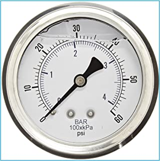 LIQUID FILLED 压力气体,6.35 厘米表盘,不锈钢表壳,黄铜连接,0.64 厘米磁环 NPT 后挂件连接,双伸缩 PSI 和杆 0-60 PSI 4332693718