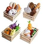 roba 玩具食品,4 個籃子,帶配件,適用于商店模型玩具和兒童廚房,多色
